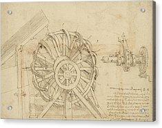 Great Sling Rotating On Horizontal Plane Great Wheel And Crossbows Devices From Atlantic Codex Acrylic Print by Leonardo Da Vinci