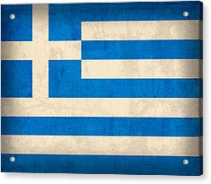 Greece Flag Vintage Distressed Finish Acrylic Print by Design Turnpike