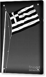 Greek Flag Acrylic Print by John Rizzuto