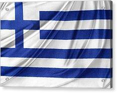Greek Flag Acrylic Print by Les Cunliffe