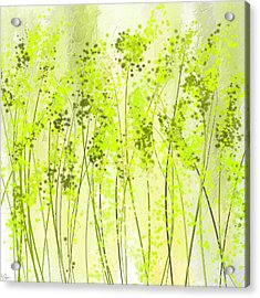 Green Abstract Art Acrylic Print by Lourry Legarde
