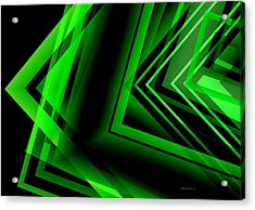 Green Abstract Geometric Acrylic Print by Mario Perez