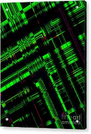 Green And Black In Abstract Geometry Art Acrylic Print by Mario Perez