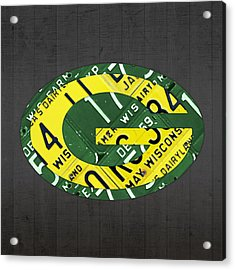Green Bay Packers Football Team Retro Logo Wisconsin License Plate Art Acrylic Print by Design Turnpike