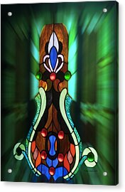 Green Brown Stained Glass Window Acrylic Print by Thomas Woolworth