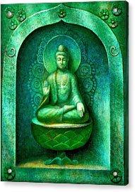 Green Buddha Acrylic Print by Sue Halstenberg