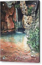 Green Falls Acrylic Print by Sam Sidders