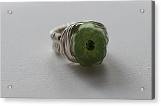 Green Flower Ring Acrylic Print by Tracy Partridge-Johnson