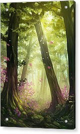 Green Forest Acrylic Print by Cassiopeia Art