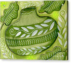 Green Gourd Acrylic Print by Elaine Jackson