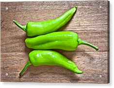 Green Jalapeno Peppers Acrylic Print by Tom Gowanlock
