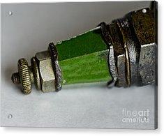 Green Lighthouse Spark Plug Acrylic Print by Wilma  Birdwell