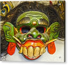 Green Mask Acrylic Print by Gregory Dyer
