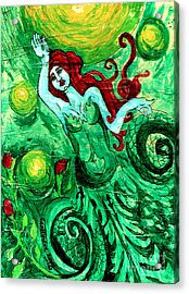 Green Mermaid With Red Hair And Roses Acrylic Print by Genevieve Esson