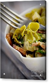 Green Pasta With Vegetables Acrylic Print by Mythja  Photography