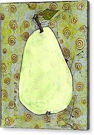 Green Pear Art With Swirls Acrylic Print by Blenda Studio