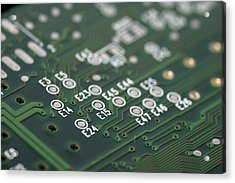 Green Printed Circuit Board Closeup Acrylic Print by Matthias Hauser