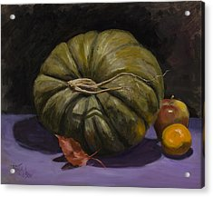 Green Pumpkin With Friends Acrylic Print by Billie Colson
