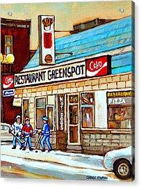Greenspot Restaurant Notre Dame Street  South West Montreal Paintings Winter Hockey Scenes St. Henri Acrylic Print by Carole Spandau
