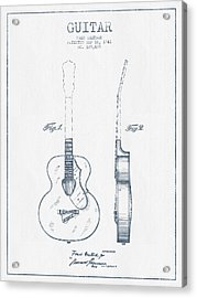Gretsch Guitar Patent Drawing From 1941 - Blue Ink Acrylic Print by Aged Pixel