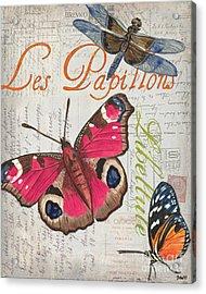 Grey Postcard Butterflies 1 Acrylic Print by Debbie DeWitt