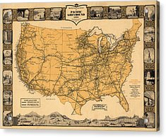 Greyhound Bus Line Map 1935 Acrylic Print by Andrew Fare
