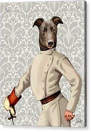 Greyhound Fencer White Portrait Acrylic Print by Kelly McLaughlan