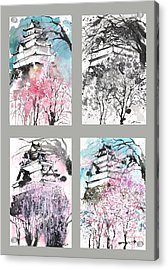 Grid No.6 Japanese Castle In Spring Acrylic Print by Sumiyo Toribe