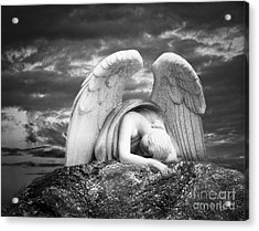 Grieving Angel Acrylic Print by Olga Zamora