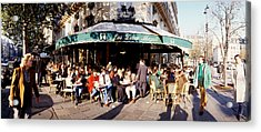 Group Of People At A Sidewalk Cafe, Les Acrylic Print by Panoramic Images