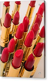 Group Of Red Lipsticks Acrylic Print by Garry Gay
