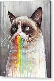 Grumpy Cat Tastes The Rainbow Acrylic Print by Olga Shvartsur