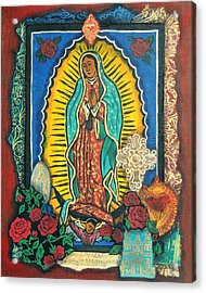 Guadalupe Collage In Red Acrylic Print by Candy Mayer