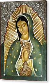 Guadalupe  Patron Saint Of The Americas. Acrylic Print by Mary Jane Miller