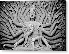 Guanyin Bodhisattva In Black And White Acrylic Print by Dean Harte