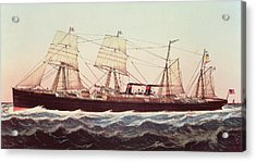 Guion Line Steampship Arizona Of The Greyhound Fleet Acrylic Print by Currier and Ives