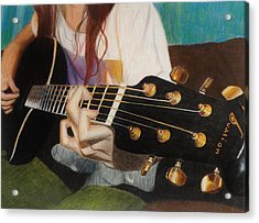 Guitar Drawing Acrylic Print by Savanna Paine
