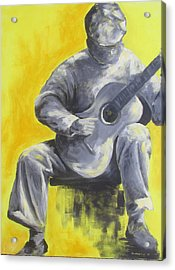 Guitar Man In Shades Of Grey Acrylic Print by Susan Richardson