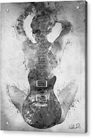 Guitar Siren In Black And White Acrylic Print by Nikki Smith