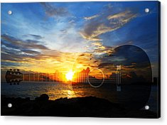 Guitar Sunset - Guitars By Sharon Cummings Acrylic Print by Sharon Cummings