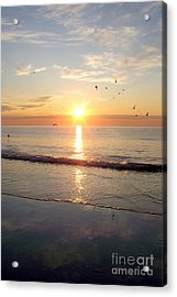 Gulls Dance In The Warmth Of The New Day Acrylic Print by Eunice Miller