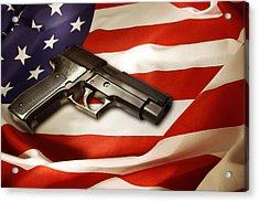 Gun On Flag Acrylic Print by Les Cunliffe