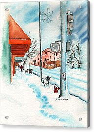 Snow Scenes In Watercolors Acrylic Print featuring the painting Gurley Street Prescott Arizona On A Cold Winters Day Western Town by Sharon Mick