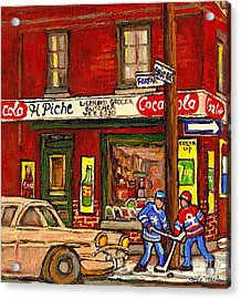 H. Piche Grocery - Goosevillage -paintings Of Montreal History- Neighborhood Boys Play Street Hockey Acrylic Print by Carole Spandau