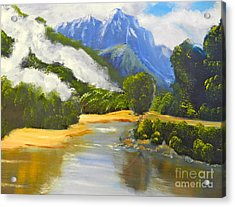 Haast River New Zealand Acrylic Print by Pamela  Meredith
