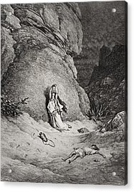 Hagar And Ishmael In The Desert Acrylic Print by Gustave Dore