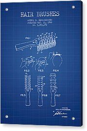 Hair Brush Patent From 1966 - Blueprint Acrylic Print by Aged Pixel