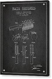Hair Brush Patent From 1966 - Charcoal Acrylic Print by Aged Pixel