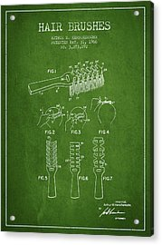Hair Brush Patent From 1966 - Green Acrylic Print by Aged Pixel