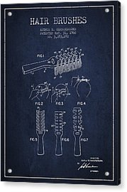 Hair Brush Patent From 1966 - Navy Blue Acrylic Print by Aged Pixel